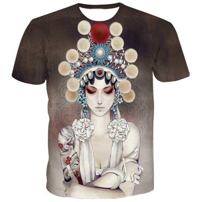 Fashion Men's Pullover Round Collar Actress Printing T-Shirt
