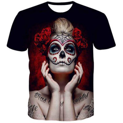 Fashion Men's Pullover Round Collar Skull Lady Printing T-Shirt