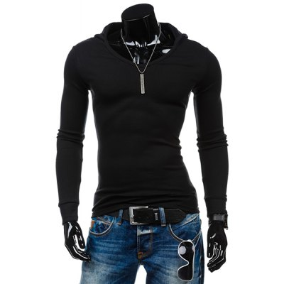 Hooded Solid Color Long Sleeves T-Shirt