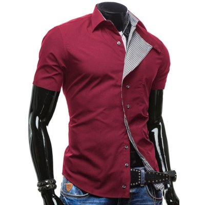 Checked Button Fly Turn-down Collar Short Sleeves Slimming Shirt For Men