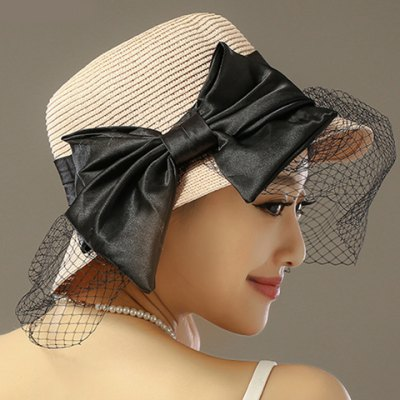 Ribbon Bow and Hollow Out Mesh Veil Embellished Straw Hat For Women