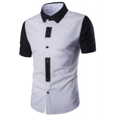 Special Button Fly Color Spliced Turn-down Collar Short Sleeves Shirt For Men