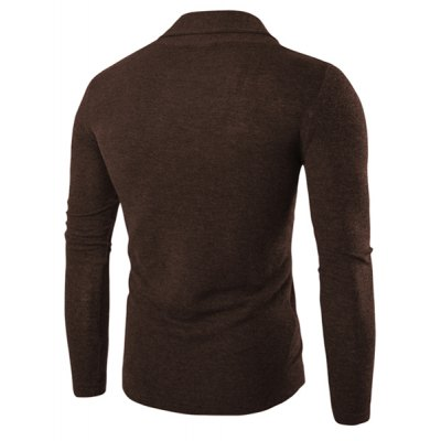 One Button Single-Breasted Solid Color Lapel Long Sleeves Cardigan For Men