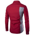 cheap Classic Plaid Spliced Slimming Turn-down Collar Long Sleeves Shirt For Men