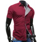 cheap Checked Button Fly Turn-down Collar Short Sleeves Slimming Shirt For Men