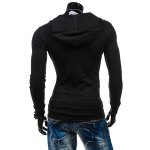 Slimming Hooded Solid Color Long Sleeves T-Shirt For Men for sale