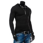 cheap Slimming Hooded Solid Color Long Sleeves T-Shirt For Men