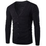 Loose Fit V-Neck Stereo Patch Pocket Solid Color Long Sleeves Cardigan For Men