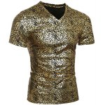 Modish V-Neck Stamping Design Short Sleeve Men's T-Shirt