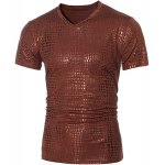 Fashion V-Neck Stamping Design Short Sleeve Men's T-Shirt