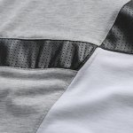 Trendy Round Neck Color Block PU-Leather Spliced Short Sleeve Men's T-Shirt photo