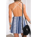 Trendy Lace Top Backless Tribal Print Women's Dress deal