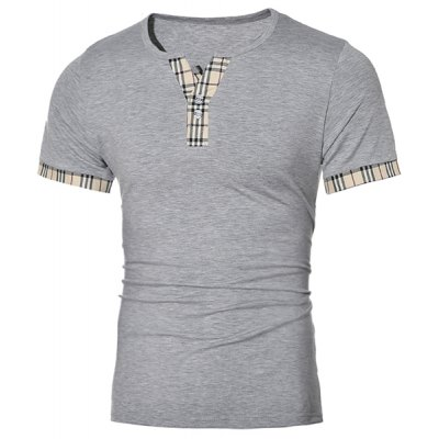 Pullover Plaid Design Short Sleeves T-Shirt For Men