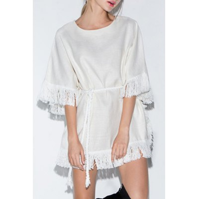 Trendy Round Collar 3/4 Sleeve Tassels Spliced Dress For Women