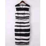 Elegant Jewel Neck Sleeveless Striped Bodycon Dress For Women