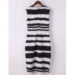 cheap Elegant Jewel Neck Sleeveless Striped Bodycon Dress For Women