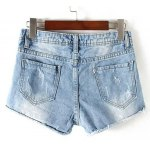 cheap Stylish Destroy Wash Frayed Low Waist Denim Jeans Shorts For Women