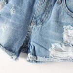 Stylish Destroy Wash Frayed Low Waist Denim Jeans Shorts For Women for sale