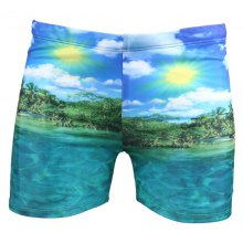 Seaside Printing Elastic Waist Swimming Trunks For Men