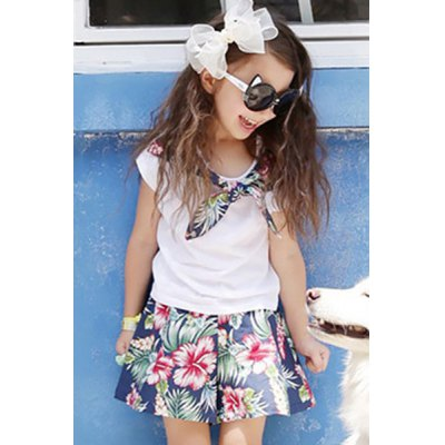 Sweet Floral Print Short Sleeve T-Shirt + Shorts Girl's Twinset
