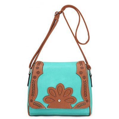 Ethnic Style Hollow Out and Color Matching Design Crossbody Bag For Women