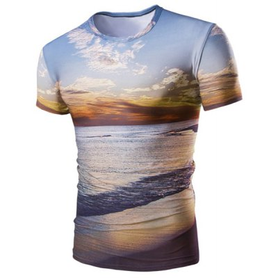 Hot Sale Round Neck 3D Sunset Coast Print Short Sleeves T-Shirt For Men