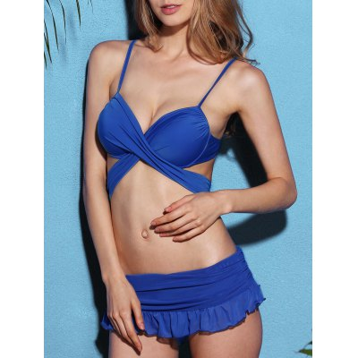 Strappy Blue Wrap Bikini Set For Women