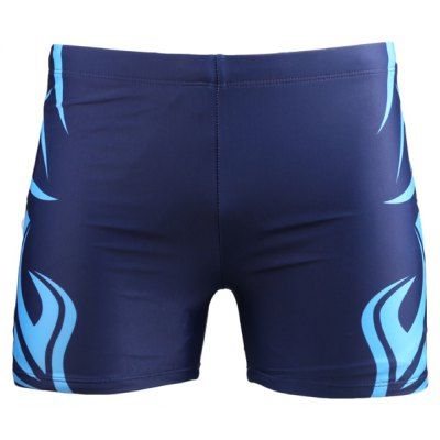 Printed Elastic Waist Swimming Trunks For Men