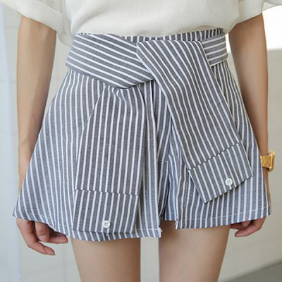 High-Waisted Striped Slimming Women's Culotte