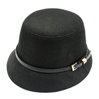 Pin Buckle Belt Embellished Flat Top Flax Bucket Hat For Women