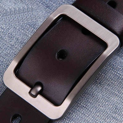 Stylish Pin Buckle Solid Color Faux Leather Wide Belt For Men