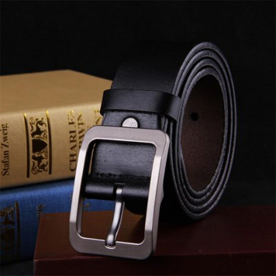 Pin Buckle Solid Color Faux Leather Wide Belt For Men