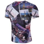 cheap Slimming Round Neck 3D Civic Landscape Short Sleeves T-Shirt For Men