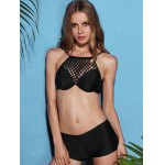 cheap Fresh Style High Neck See-Through Polka Dot Three Piece Black Bathing Suit For Women