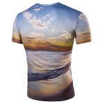cheap Hot Sale Round Neck 3D Sunset Coast Print Short Sleeves T-Shirt For Men