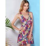 Fresh Style V Neck Cross-Back Printed One Piece Swimwear For Women for sale