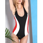 Active Style U Neck Color Block Racerback Swimwear For Women