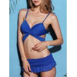 Trendy Strappy Blue Wrap Bikini Set For Women