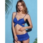 Trendy Strappy Blue Wrap Bikini Set For Women deal