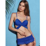 cheap Strappy Blue Skirted Wrap Bikini Swimsuit
