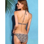 Charming Halter Neck Backless Leopard Print   Underwire Bikini Set For Women for sale
