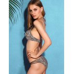 Charming Halter Neck Backless Leopard Print   Underwire Bikini Set For Women deal