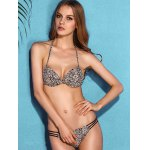 best Charming Halter Neck Backless Leopard Print   Underwire Bikini Set For Women