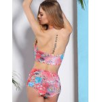 Trendy High-Waisted Floral Print Push-Up Women's Bikini Set for sale