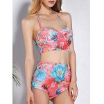 Trendy High-Waisted Floral Print Push-Up Women's Bikini Set