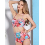 Trendy High-Waisted Floral Print Push-Up Women's Bikini Set deal