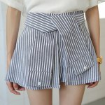 Fashionable High-Waisted Striped Slimming Women's Culotte