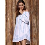 cheap Fashionable Off-The-Shoulder Long Sleeve Printed Women's Dress