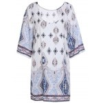 Casual Scoop Neck Floral Print Hollow Out Dress For Women photo