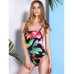 Vintage Floral Printed Back Criss-Cross One-Piece Swimwear For Women for sale